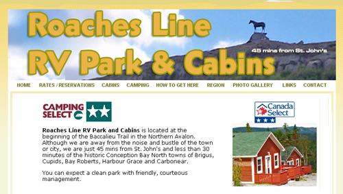 Roaches Line RV Park and Cabins Webstite