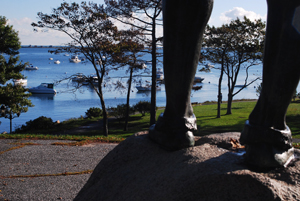 Statue of a Wampanoag overlooking Plymouth Harbour